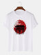 Mens Japanese Architecture Graphic 100% Cotton Short Sleeve T-Shirts - White
