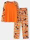 Mens Halloween Striped Grimace Print Raglan Sleeve Home Pajamas Sets - Orange