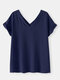 Short Sleeve V-neck Solid Casual T-shirt for Women - Navy