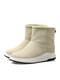 Women Casual Warm Solid Color Slip On Short Calf Cotton Snow Boots - Apricot