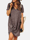 Solid Color V-neck Short Sleeve Plus Size Knotted Dress - Coffee