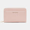 Women PU Leather 8 Card Slots Photo Card Phone Bag Money Clip Wallet Purse - Pink