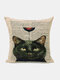 Animal Head Wine Glass Pattern Linen Cushion Cover Home Sofa Art Decor Throw Pillowcase - #02