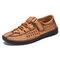 Menico Men Woven Style Breathable Soft Non Slip Microfiber Leather Shoes - Yellow
