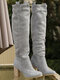 Women Slip On Solid Color Simple Elegant Casual Knee High Boots - Grey