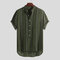 Mens Ethnic Style Printed Stripe Stand Collar Short Sleeve Loose Henley Shirts