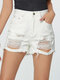 Casual Hole Plus Size Sexy Summer Shorts for Women - White