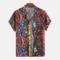 Chemise à manches courtes à manches courtes, style abstrait ethnique pour hommes