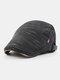 Men Woolen Autumn And Winter Knitting Contrast Color Warm Forward Hat Flat Hat - Black