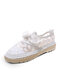 Women Lace Mesh Non Slip Soft Comfy Lace Up Fisherman Shoes Casual Hand Stitching Flat Shoes - White