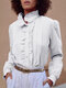 Lace Ruffle Front Long Sleeve Plus Size Shirt for Women - White