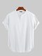 メンズコットンリネンシン&通気性Vネック半袖ヘンリーシャツ - 白い