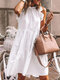 Stringy Selvedge Solid Color Sleeveless Casual Dress For Women - White