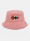 Women & Men Woolen Embroidery Fish Bone Cute Casual Bucket Hat - Pink