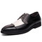 Men Microfiber Leather Splicing Non Slip Party Casual Formal Shoes - Black