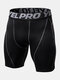Mens Contrast Seam Quick Dry Breathable Stretch Letter Waistband Skinny Sport Shorts - Black&Gray