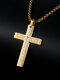 Vintage Stainless Steel Bible Cross Pendant Necklaces - Gold
