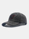 Unisex Washed Cotton Solid Color Letter Embroidery Retro All-match Baseball Cap - Black