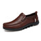 Men Cow Leather Non Slip Large Size Slip On Soft Sole Casual Shoes - Coffee
