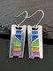 Vintage Epoxy Women Earrings Long Hollow Colored Splicing Earrings Jewelry Gift - #02