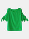 Women Off Shoulder Solid Color Knotted Short Sleeve Casual T-Shirt - Green