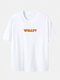 Plus Size What Letter Print Casual 100% Cotton Short Sleeve T-Shirts - White