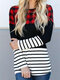 Striped Plaid Patchwork Plus Size T-shirt For Women - Red