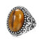 Vintage Metal Carved Rough Stone Ring Geometric Oval Cat Eye Crystal Finger Ring - 02