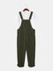 Mens Corduroy Solid Color Casual Button Overalls Jumpsuits With Pockets - Green