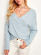 Solid Color Knitted Asymmetrical V-neck Long Sleeve Casual Sweater for Women - Blue