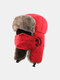 Men Cold-proof Winter Trapper Hat Thick Winter Hat Ear Protection With Mask Trapper Hat - Red