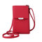Women Multi-function 6.5 Inch Phone Purse 6 Card Slot Card Holder Anti Theft Solid Crossbody Bag - Red