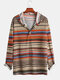 Mens Autumn Casual National Style Colorblock Stripe Long Sleeve Hoodie - Apricot