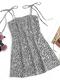Leopard Print Straps Knotted Plus Size Short Dress - Grey