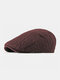 Men Autumn And Winter Casual Beret Hat  Forward Hat Knitted Peak Hat Flat Cap - Wine Red