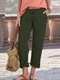 Solid Color Pockets Plus Size Casual Pants for Women - Army