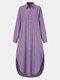 Frauen einfarbig Taschenknopf Revers Langarm Casual Bluse - lila