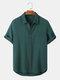 Seersucker arrugado de color sólido para hombre, manga corta, dobladillo alto-bajo Camisa - Verde