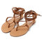 Women Casual Beach Clip Toe Lace Up Flat Sandals  - Brown