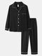 Mens Solid Button Up 100% Cotton Contrast Binding Loungewear Sets - Black