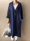 Solid Color Button Pocket Long Sleeve Casual Coat for Women - Dark blue