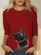 Cat Print O-neck Long Sleeve Casual T-Shirt For Women - Red