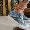 Plus Size Women Retro Zipper Decor Canvas Lace Up Flat Casual Shoes - Blue