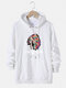 Mens Ethnic Figure Graphic Print Drawstring Cotton Pullover Hoodie - White