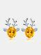 Christmas Crystal Gem Women Ear Stud Stereoscopic Reindeer Earrings - #05