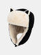 Women Cotton Warm Windproof Ear Protection Cat Ears Shape Outdoor Trapper Hat For Riding Ski - Black
