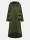 Solid Color Pleated Stiching Front Zipper Irregular Jacket Hooded Coat - Army Green