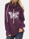 Butterfly Print Drawstring High-neck Casual Plus Size Sweatshirt - Wine Red