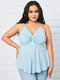 Casual Pleated V-neck Straps Plus Size Tank Top - Blue
