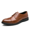 Men British Style Pure Color Comfy Wearable Lace Up Business Formal Casual Shoes - Brown